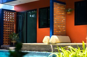 Jane Homestay Deluxe with Pool View outside